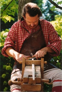 Hand carving a spindle